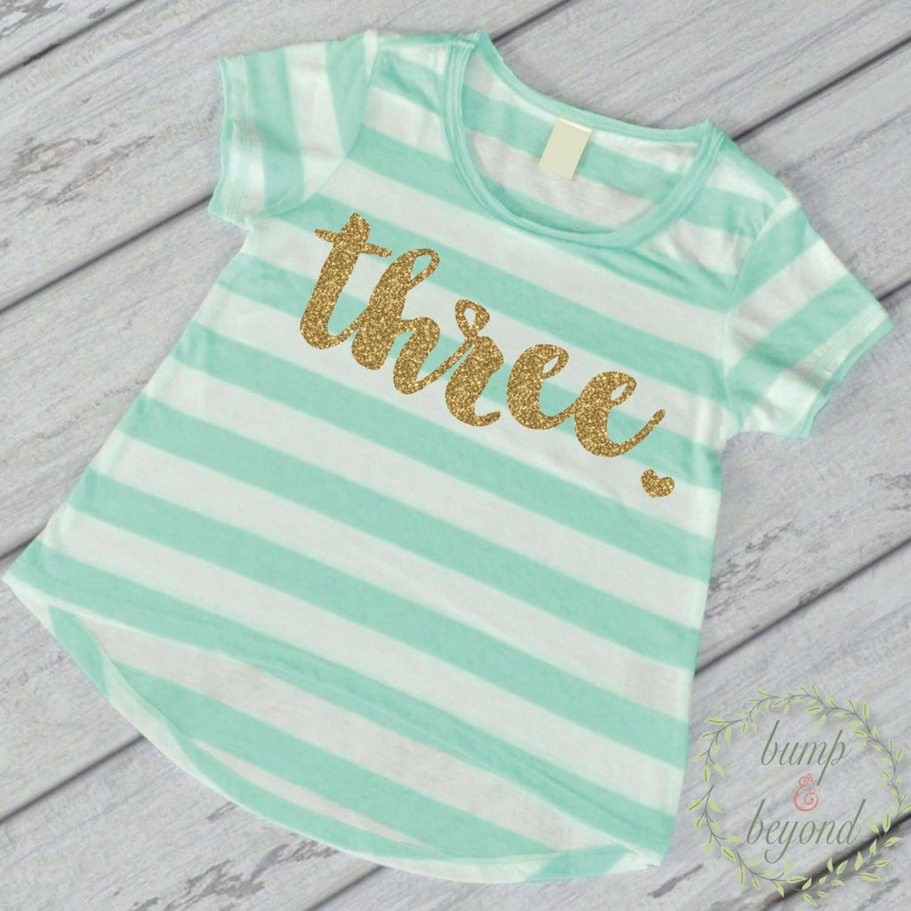 Third Birthday Outfit Girl Gold Glitter Three Year Old Girl Third Birthday Shirt 3rd Birthday Girl Outfit Green T-Shirt 102 - Bump and Beyond Designs