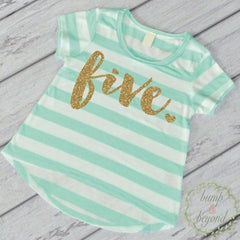 Fifth Birthday Outfit Girl Gold Glitter Five Year Old Girl Fifth Birthday Shirt 5th Birthday Girl Outfit Green T-Shirt 102 - Bump and Beyond Designs