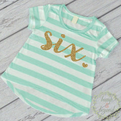 Sixth Birthday Outfit Girl Gold Glitter Six Year Old Girl Sixth Birthday Shirt 6th Birthday Girl Outfit Green T-Shirt 102 - Bump and Beyond Designs