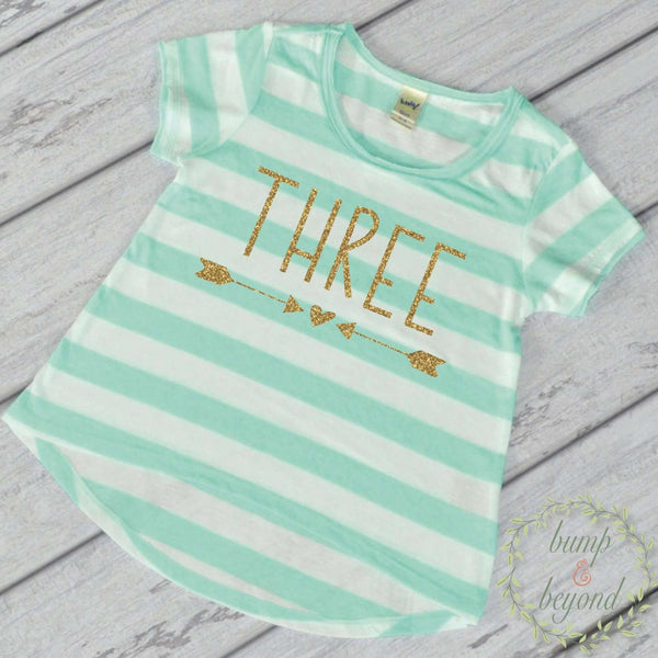 Girl Third Birthday Shirt 3 Year Old Birthday Shirt Girl Three Year Old Birthday Girl Outfit Toddler T-Shirt 3rd Birthday Shirt Green 133 - Bump and Beyond Designs