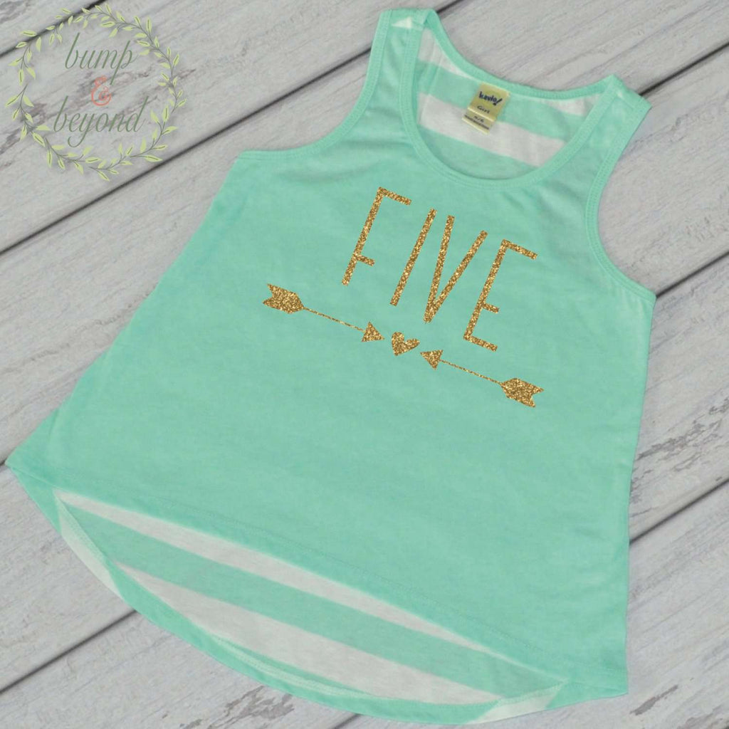 Five Year Old Birthday Girl Shirt 5 Year Old Birthday Shirt Girl Fifth Birthday Shirt Girl 5th Birthday Outfit Girl Green Tank Top 133 - Bump and Beyond Designs
