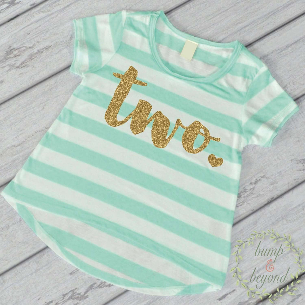 Second Birthday Outfit Girl Gold Glitter Two Year Old Girl Second Birthday Shirt 2nd Birthday Girl Outfit Green Shirt 102 - Bump and Beyond Designs