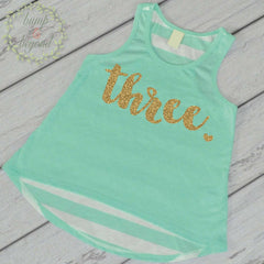 Third Birthday Shirt Girl Three Year Old Birthday Shirt 3 Birthday Shirt Girl 3rd Birthday Outfit Girl Green Tank Top 102 - Bump and Beyond Designs