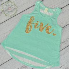 Fifth Birthday Shirt Girl Five Year Old Birthday Shirt 5 Birthday Shirt Girl 5th Birthday Outfit Girl Green Tank Top 102 - Bump and Beyond Designs