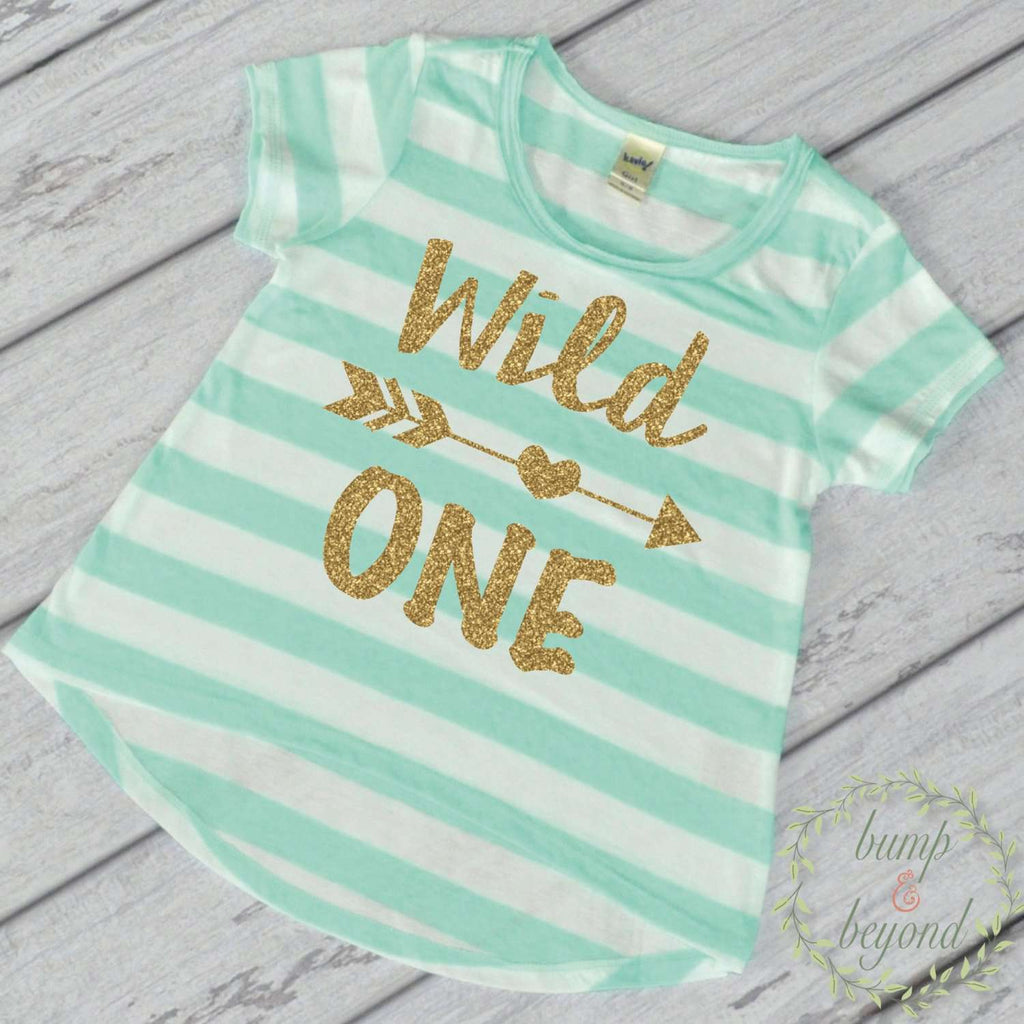 Wild One Shirt Wild One Birthday Girl First Birthday Outfit Girl Gold Glitter One Year Old Girl 1st Birthday Girl Outfit Green T-Shirt 023 - Bump and Beyond Designs