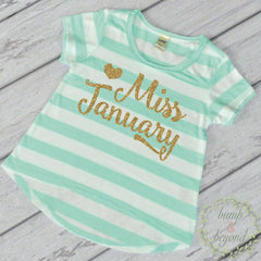 Birthday Month Shirt Little Miss Birthday Month First Birthday Shirt Gold and Green T-Shirt 033 - Bump and Beyond Designs