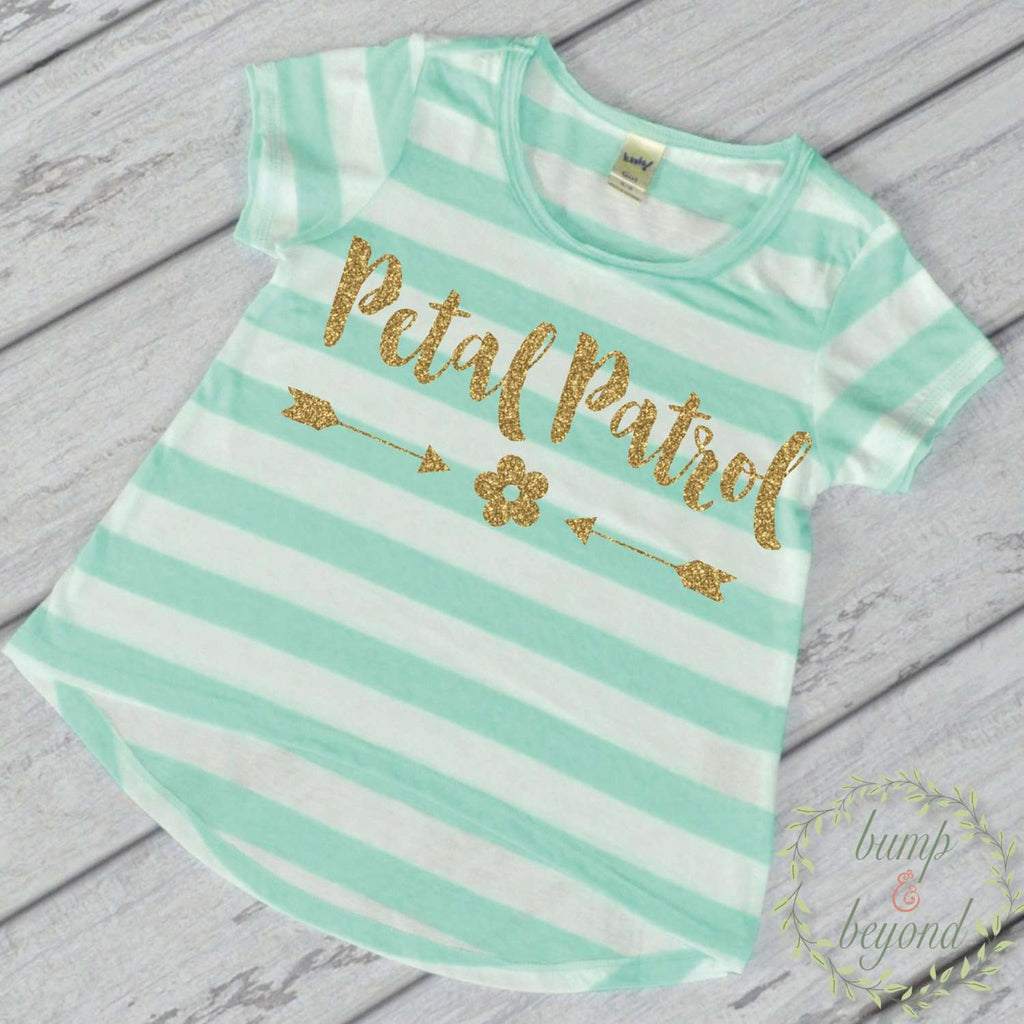 Petal Patrol Shirt Flower Girl Shirt Gold Glitter Flower Girl Shirt Flower Girl Wedding Rehearsal Shirt Glitter Flower Girl Shirt 140 - Bump and Beyond Designs