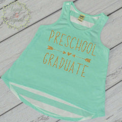 Preschool Graduation Shirt, Turquoise Tank Top