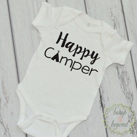 Camping Shirt Happy Camper Funny Baby Clothes Happy Camper T-Shirt Baby Summer Adventure Road Trip Shirt 220 - Bump and Beyond Designs