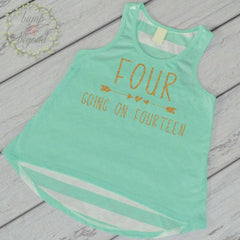 Kids Birthday Shirts Four Going on Fourteen 4th Birthday Shirt Girl 4th Birthday Shirt Four Shirt Trendy Kids Clothes Birthday Tank Top 234 - Bump and Beyond Designs