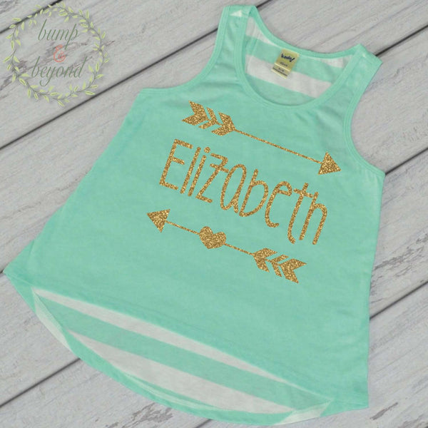 Hipster Girl Clothes Baby Girl Clothes Personalized Name Shirt Tank Top Gold Glitter Arrow Custom Name Shirt Birthday Shirt 019 - Bump and Beyond Designs