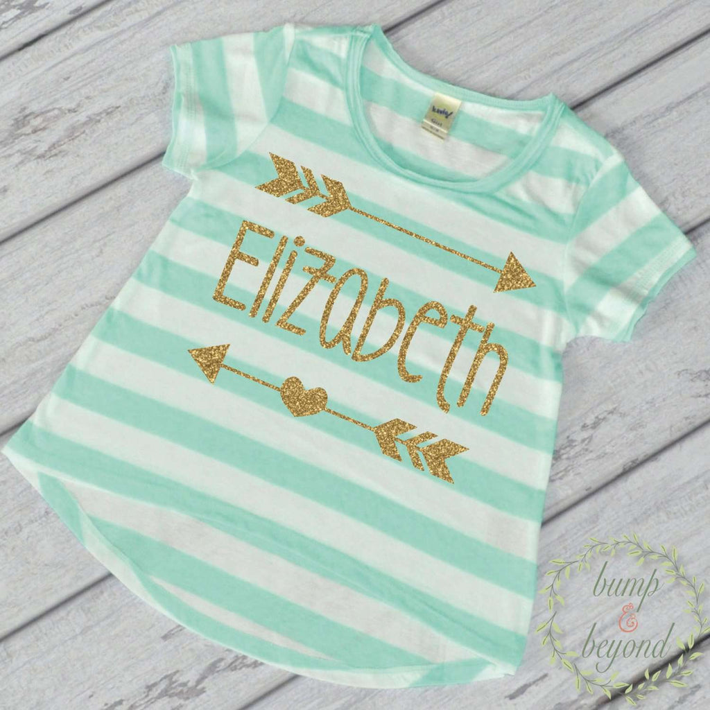 Personalized Baby Girl Gift Girl Baby Clothes Baby Girl Clothes Personalized Baby Gift Name Shirt Gold Glitter Arrow 019 - Bump and Beyond Designs