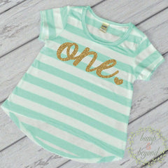 Girl First Birthday Shirt Golden Birthday Shirt First Birthday Outfit Girl Green T-Shirt 032 - Bump and Beyond Designs