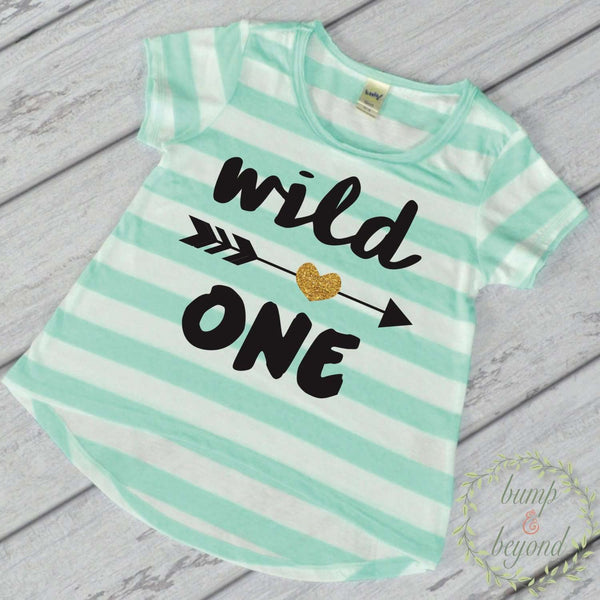 1st Birthday Girl Outfit First Birthday Girl Shirt Wild One Shirt Wild One Birthday Girl One Year Old Girl Outfit Green T-Shirt 048 - Bump and Beyond Designs