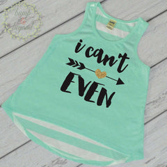 I Can't Even Shirt Trendy Baby Girl Clothes Hipster Toddler Clothes Green Tank Top 053 - Bump and Beyond Designs
