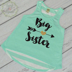 Big Sister Outfit Big Sister Shirt Pregnancy Reveal Big Sister Tank Top Photo Prop Big Sister Gift 037 - Bump and Beyond Designs