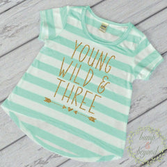 Young Wild and Three Birthday Girl Shirt, Turquoise Stripes - Bump and Beyond Designs