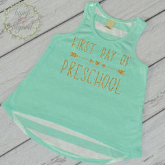 First Day of Preschool Shirt Toddler Girl Preschool Shirt 1st Day of School Outfit Preschool Tank Top Back to School Shirt My First Day 237 - Bump and Beyond Designs