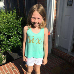 Sixth Birthday Shirt Girl Six Year Old Birthday Shirt 6 Birthday Shirt Girl 6th Birthday Outfit Girl Green Tank Top 102 - Bump and Beyond Designs