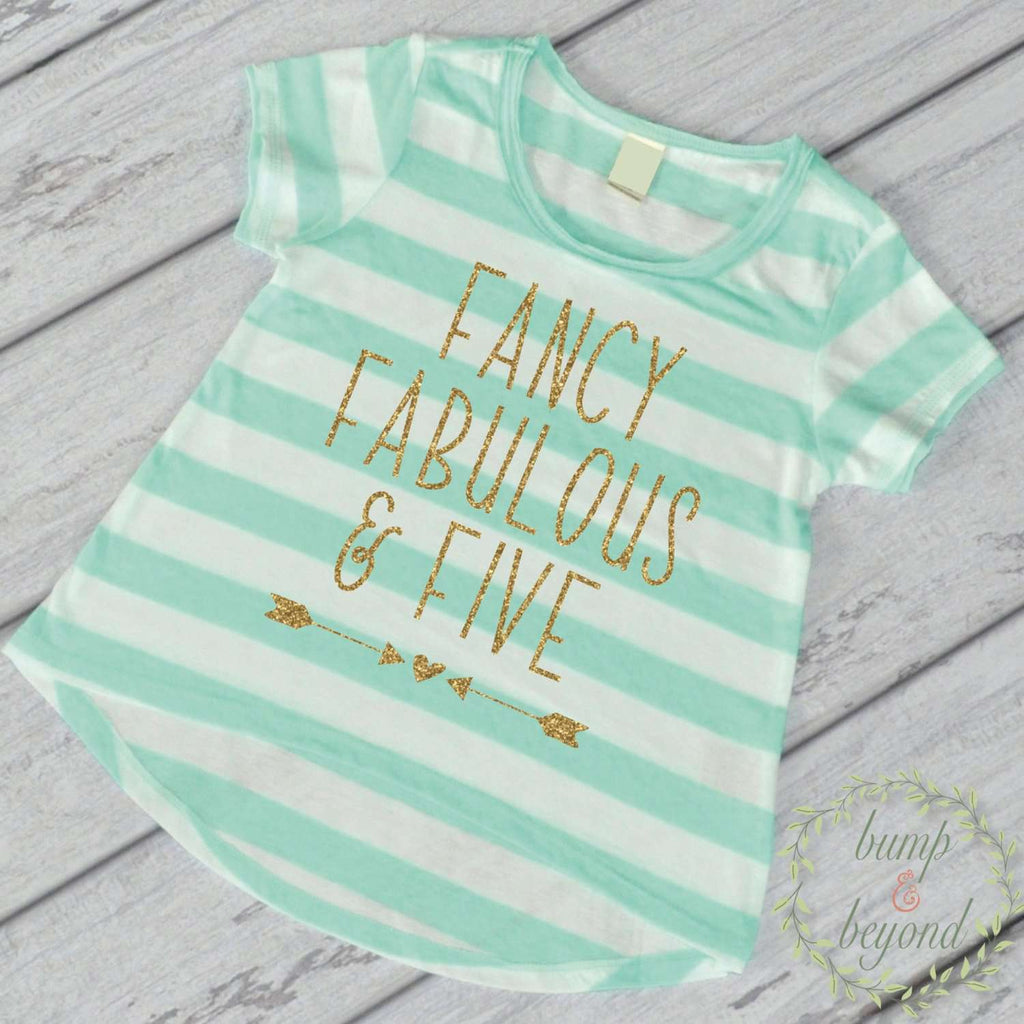 Fancy Fabulous And Five 5th Birthday Outfit Girl Shirt Fifth