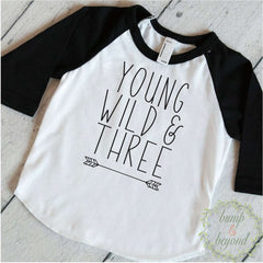 Young Wild & Three Boy T-Shirt, Arrow Outline - Bump and Beyond Designs
