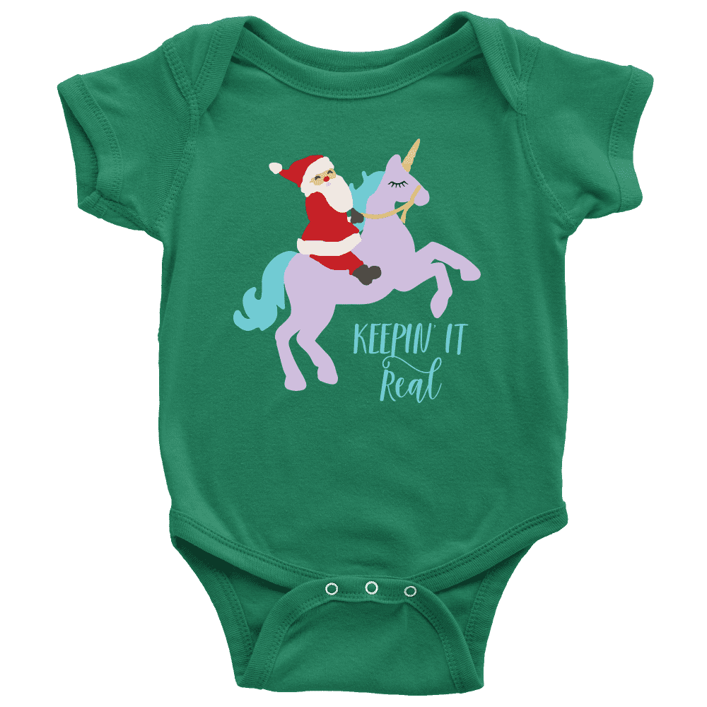 Baby Funny Christmas Outfit, Santa Riding a Unicorn Shirt - Bump and Beyond Designs