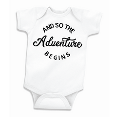 And so the Adventure Begins Pregnancy Announcement Bodysuit, Baby Shower Gift