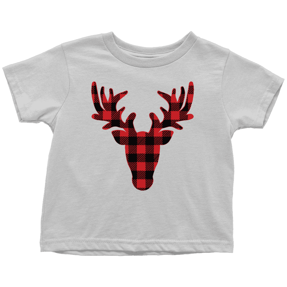 Kids Christmas Shirt, Buffalo Plaid Reindeer Youth T-Shirt - Bump and Beyond Designs