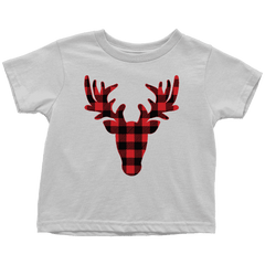 Kids Christmas Shirt, Buffalo Plaid Reindeer Youth T-Shirt