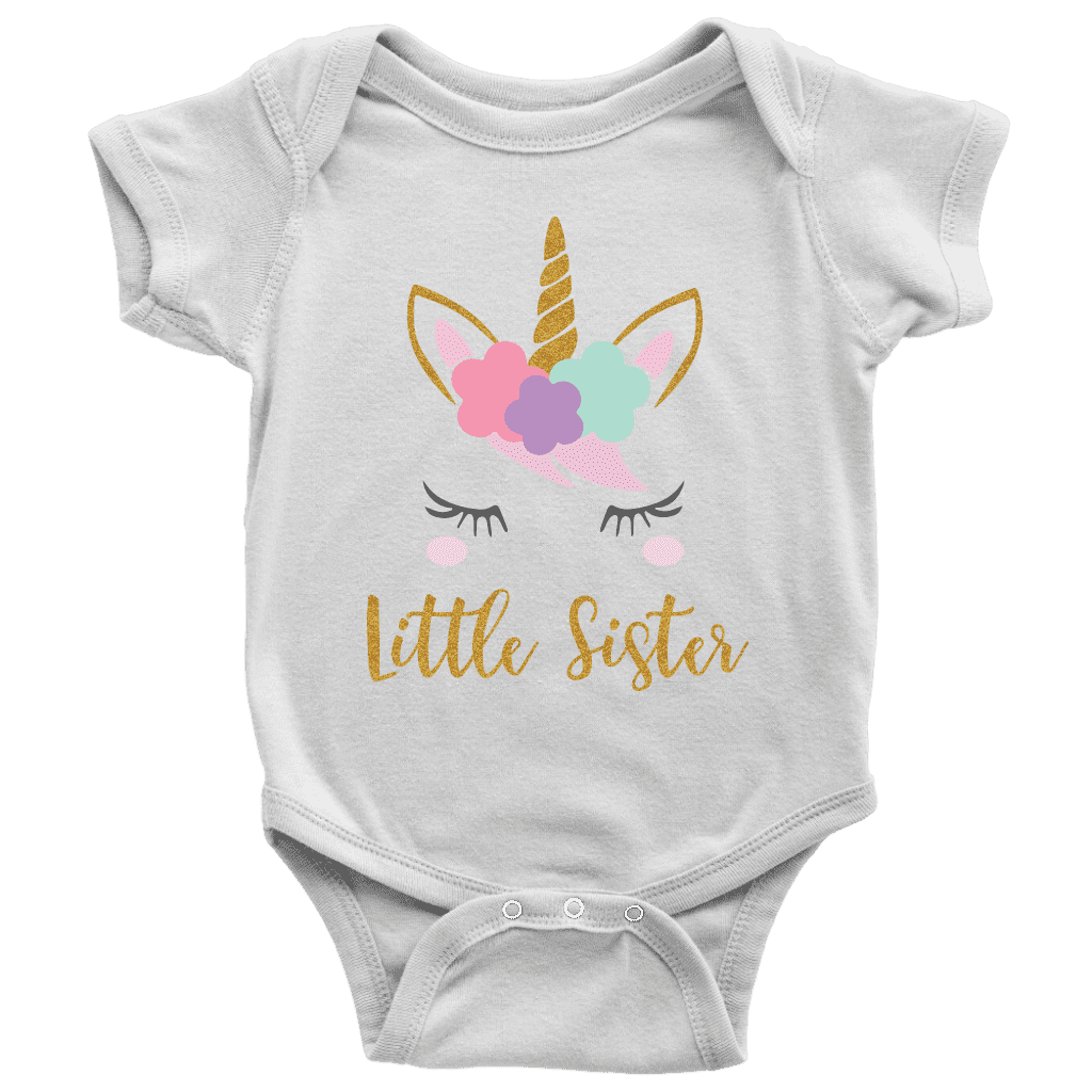 Unicorn Little Sister Shirt for Baby Girls - Bump and Beyond Designs