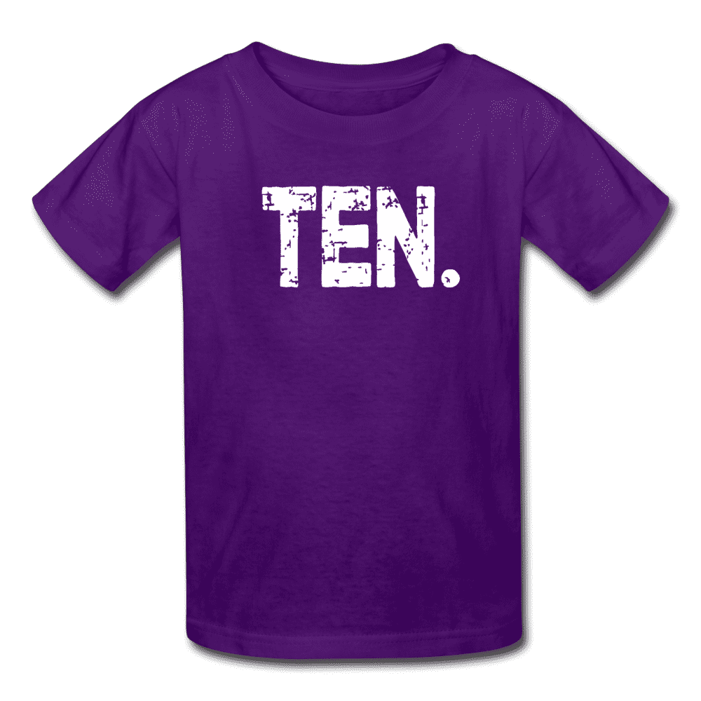 Boy 10th Birthday Shirt, Birthday Boy T-Shirt, Ten Year Old Birthday Gift - purple
