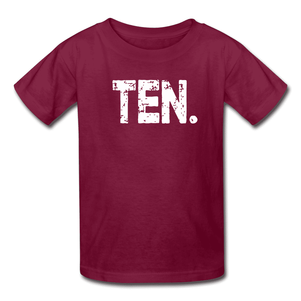 Boy 10th Birthday Shirt, Birthday Boy T-Shirt, Ten Year Old Birthday Gift - burgundy