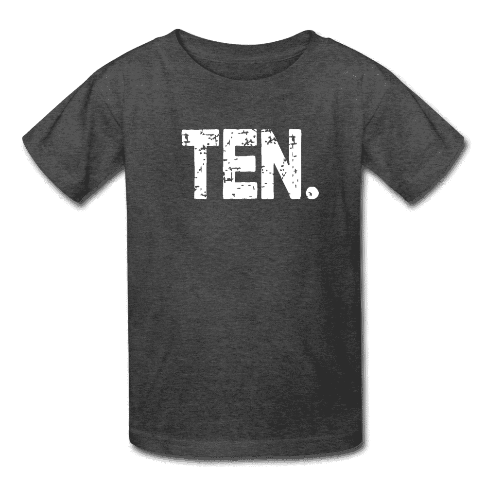 Boy 10th Birthday Shirt, Birthday Boy T-Shirt, Ten Year Old Birthday Gift - heather black