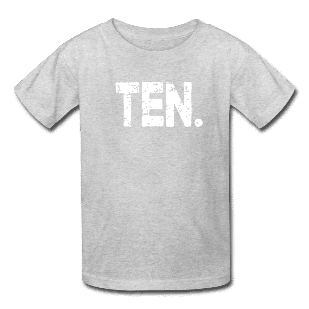 Boy 10th Birthday Shirt, Birthday Boy T-Shirt, Ten Year Old Birthday Gift - heather gray