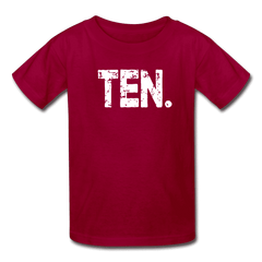 Boy 10th Birthday Shirt, Birthday Boy T-Shirt, Ten Year Old Birthday Gift - dark red