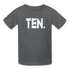 Boy 10th Birthday Shirt, Birthday Boy T-Shirt, Ten Year Old Birthday Gift - charcoal