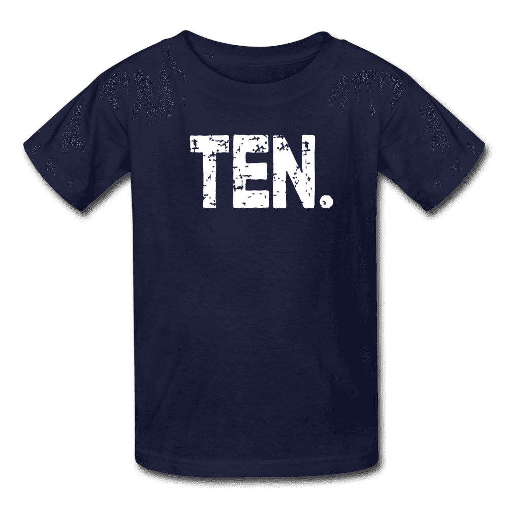 Boy 10th Birthday Shirt, Birthday Boy T-Shirt, Ten Year Old Birthday Gift - navy