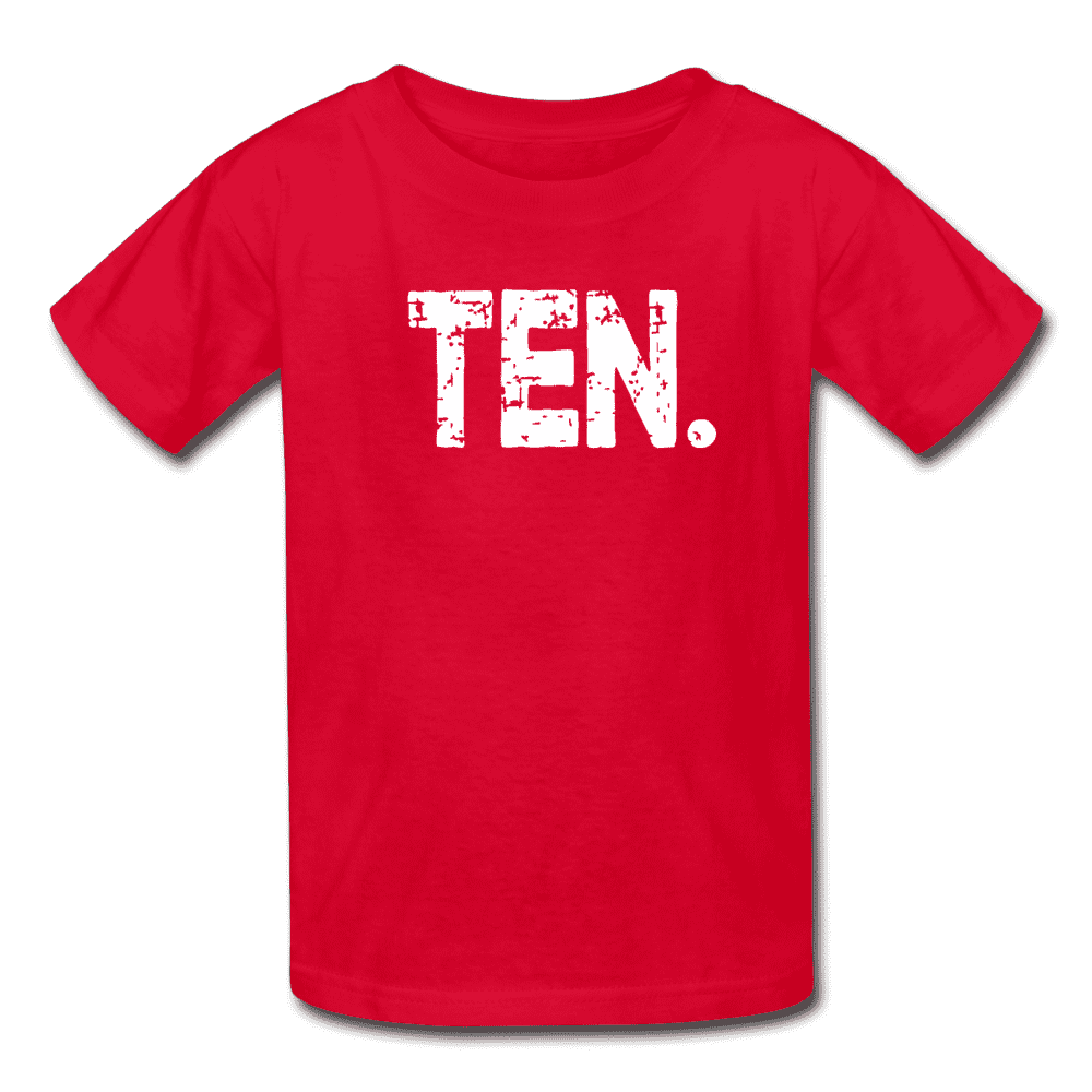 Boy 10th Birthday Shirt, Birthday Boy T-Shirt, Ten Year Old Birthday Gift - red