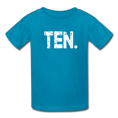 Boy 10th Birthday Shirt, Birthday Boy T-Shirt, Ten Year Old Birthday Gift - turquoise