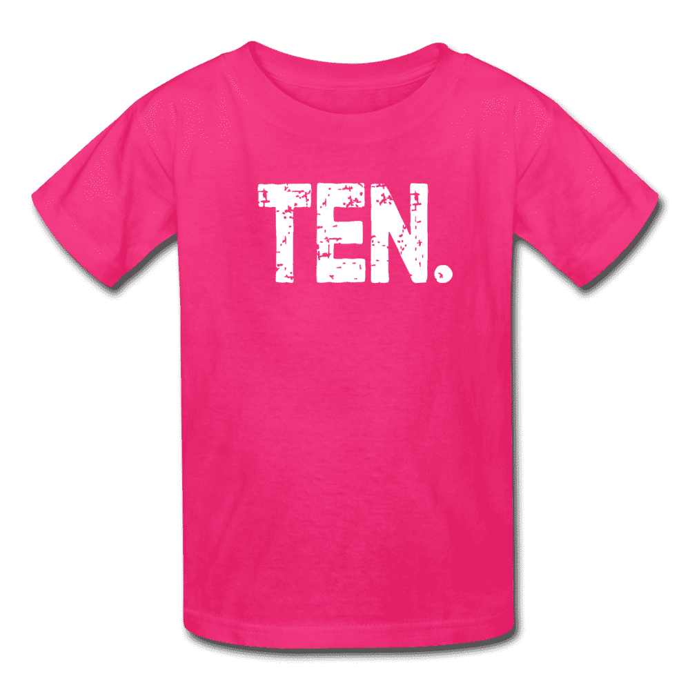 Boy 10th Birthday Shirt, Birthday Boy T-Shirt, Ten Year Old Birthday Gift - fuchsia