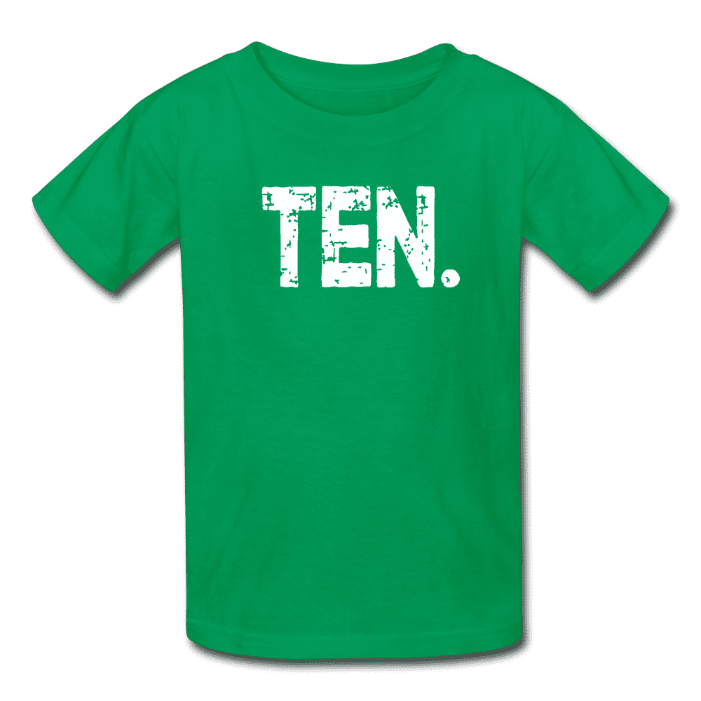 Boy 10th Birthday Shirt, Birthday Boy T-Shirt, Ten Year Old Birthday Gift - kelly green