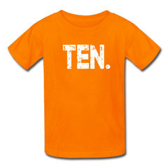 Boy 10th Birthday Shirt, Birthday Boy T-Shirt, Ten Year Old Birthday Gift - orange