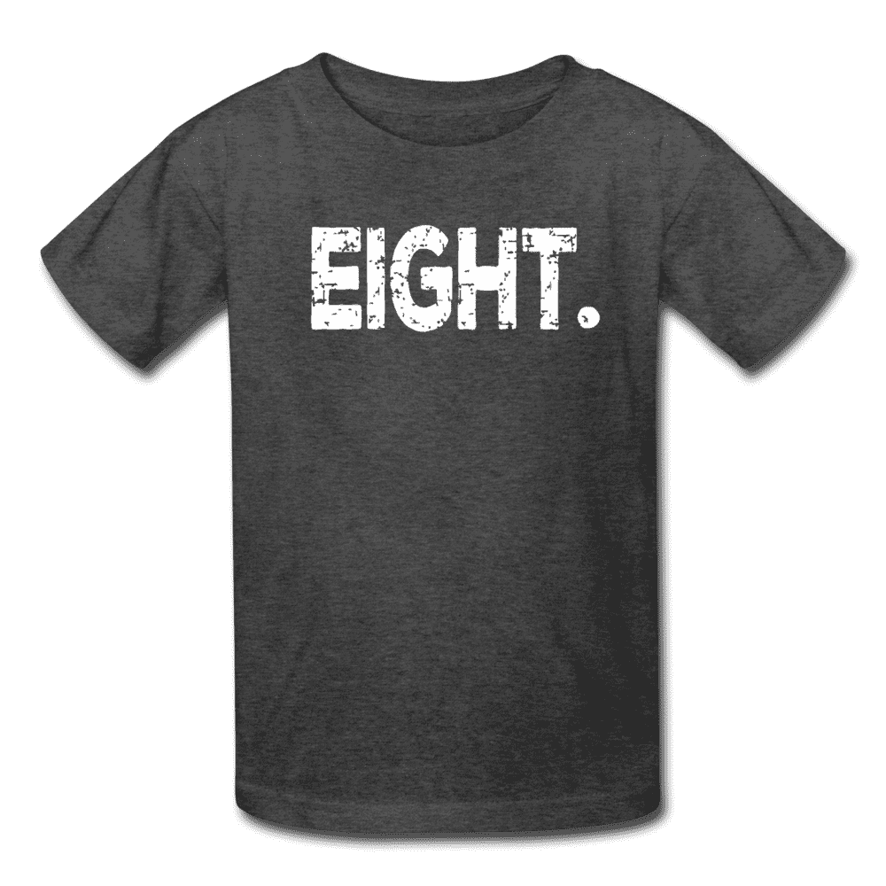 Boy 8th Birthday Shirt, Birthday Boy T-Shirt, Eight Year Old Birthday Gift - heather black