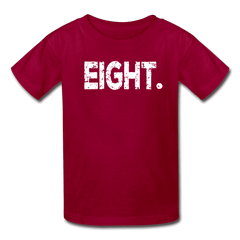 Boy 8th Birthday Shirt, Birthday Boy T-Shirt, Eight Year Old Birthday Gift - dark red