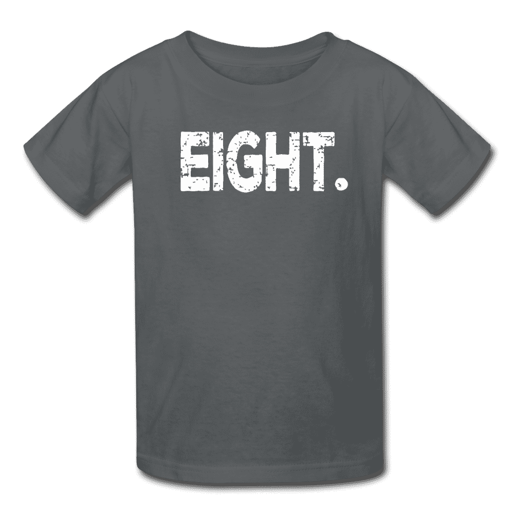 Boy 8th Birthday Shirt, Birthday Boy T-Shirt, Eight Year Old Birthday Gift - charcoal
