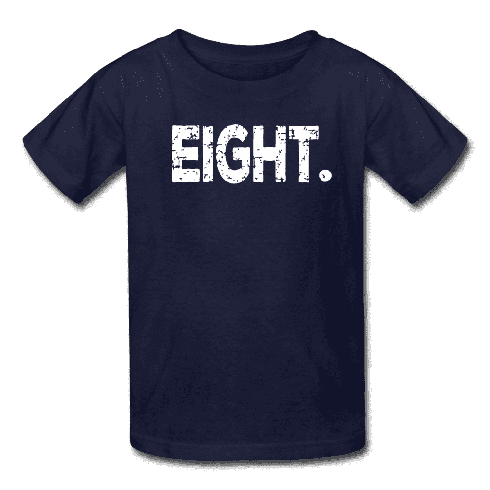 Boy 8th Birthday Shirt, Birthday Boy T-Shirt, Eight Year Old Birthday Gift - navy