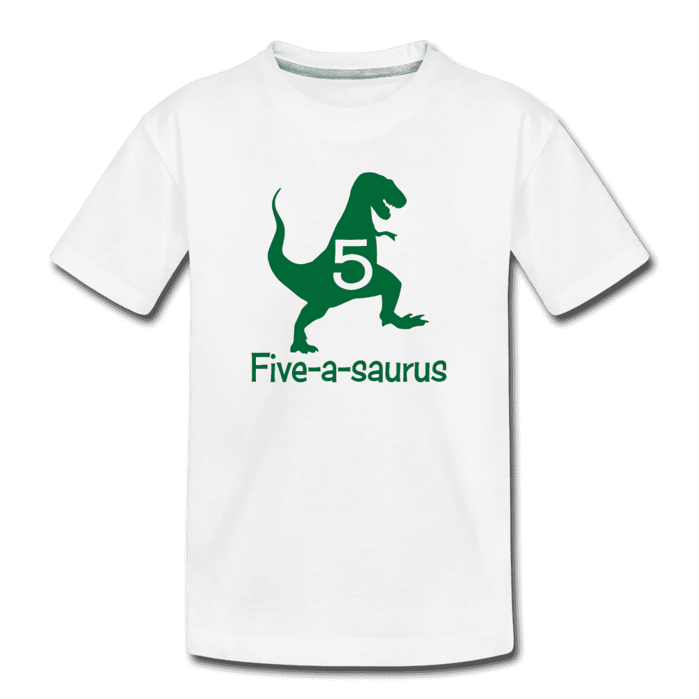 Fifth Birthday Boy Shirt, Dinosaur 5th Birthday T-Shirt, Five-A-Saurus - white