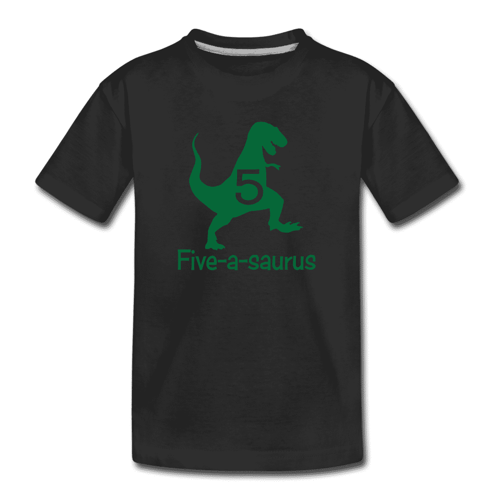 Fifth Birthday Boy Shirt, Dinosaur 5th Birthday T-Shirt, Five-A-Saurus - black
