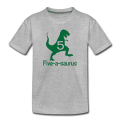Fifth Birthday Boy Shirt, Dinosaur 5th Birthday T-Shirt, Five-A-Saurus - heather gray