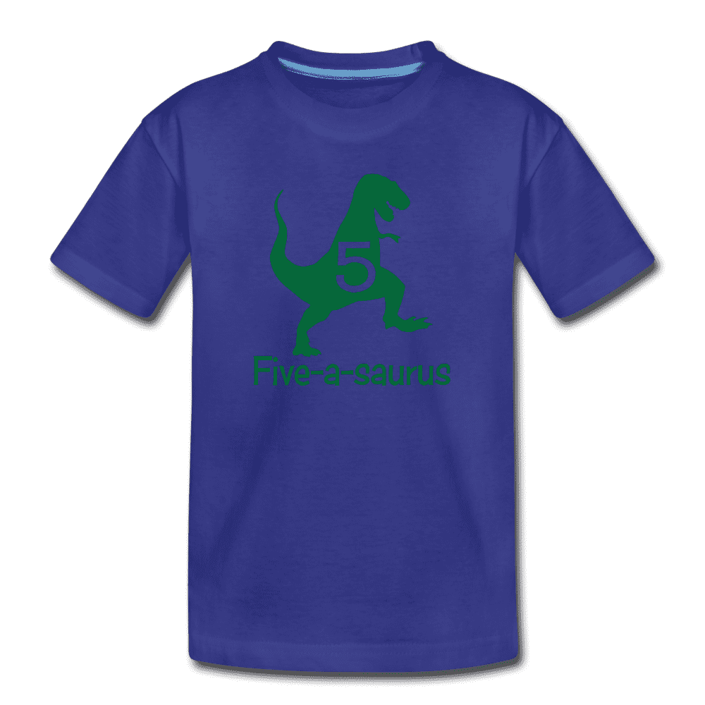 Fifth Birthday Boy Shirt, Dinosaur 5th Birthday T-Shirt, Five-A-Saurus - royal blue